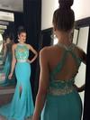 Trumpet/Mermaid Scoop Neck Chiffon Sweep Train Beading Prom Dresses #Favs020102056