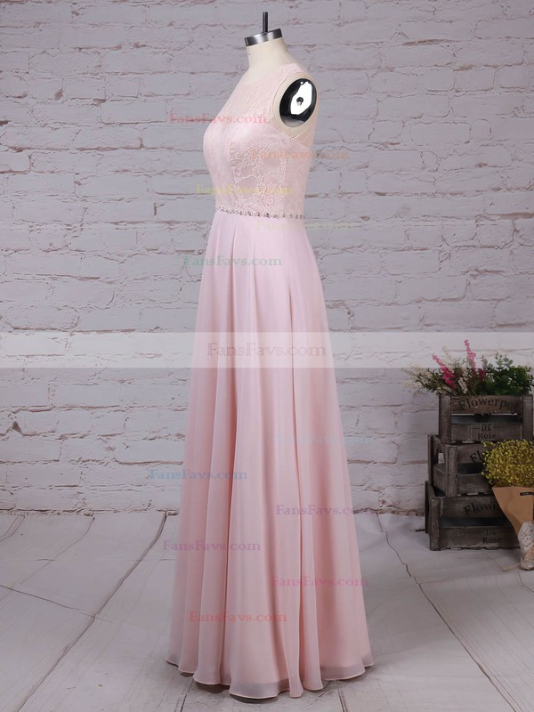 A-line Scoop Neck Lace Chiffon Floor-length Beading Prom Dresses #Favs020105877