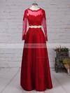 A-line Scoop Neck Satin Floor-length Appliques Lace Prom Dresses #Favs020105879
