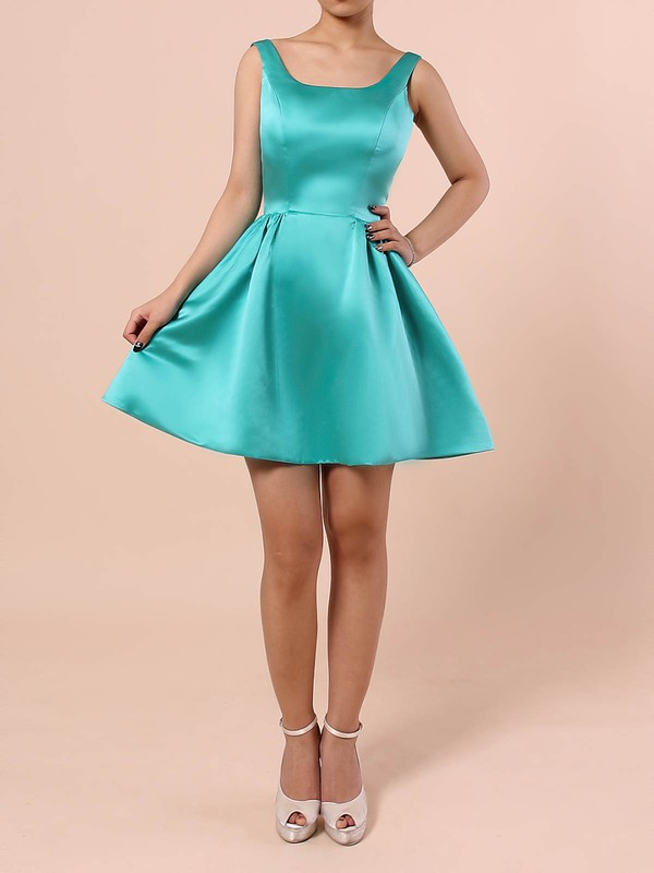 A-line Square Neckline Satin Short/Mini Prom Dresses #Favs020105898