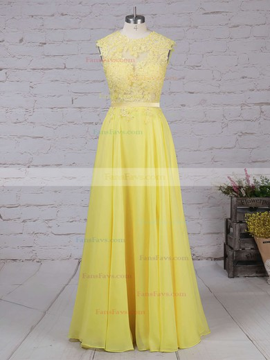 A-line Scoop Neck Sweep Train Chiffon Prom Dresses with Appliques Lace Sashes #Favs020102057