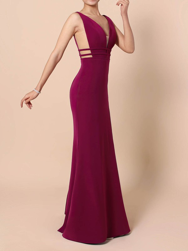 Sheath/Column V-neck Stretch Crepe Sweep Train Prom Dresses #Favs020105915