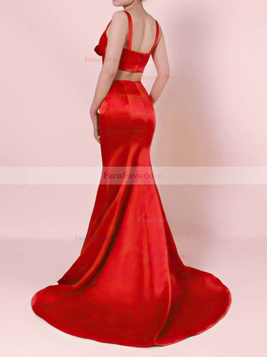 Trumpet/Mermaid V-neck Satin Sweep Train Ruffles Prom Dresses #Favs020105916