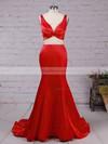 Trumpet/Mermaid V-neck Satin Sweep Train Ruffles Prom Dresses #Favs020105916