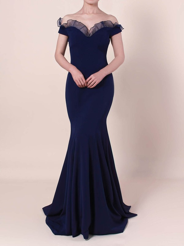 Trumpet/Mermaid Off-the-shoulder Stretch Crepe Floor-length Prom Dresses #Favs020105922