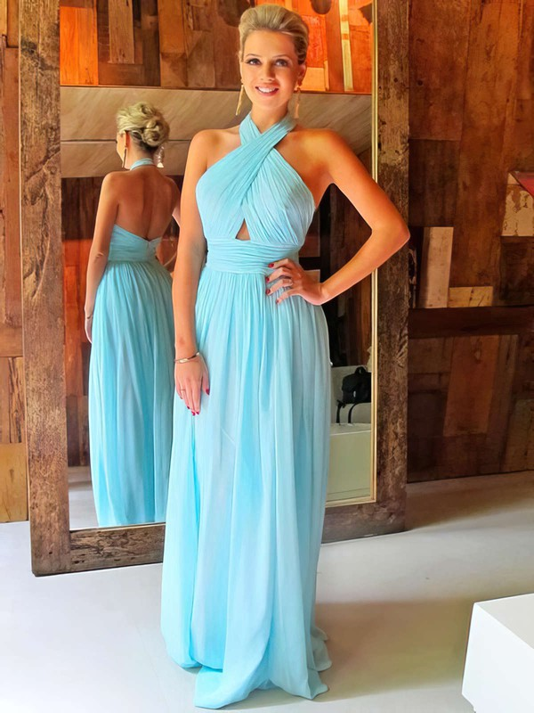 A-line Halter Floor-length Chiffon Prom Dresses with Ruffle #Favs020102063