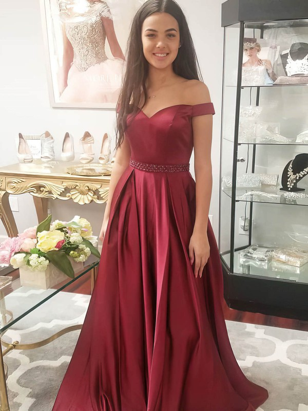 Princess Off-the-shoulder Satin with Beading Prom Dress #Favs020105925