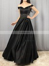 Princess Off-the-shoulder Satin Floor-length Beading Prom Dresses #Favs020105925