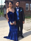 Sheath/Column Scoop Neck Velvet Sweep Train Beading Prom Dresses #Favs020106114