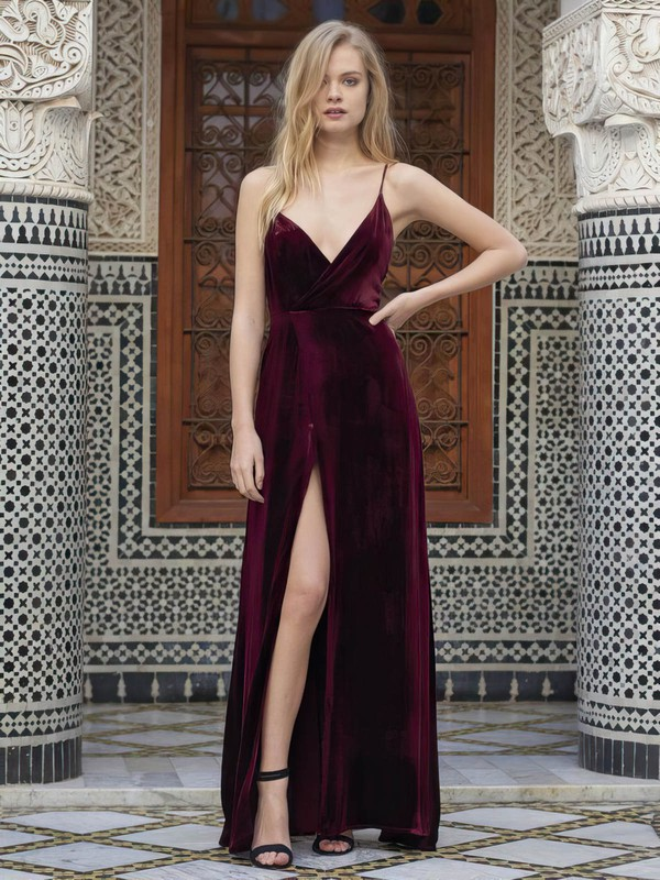 A-line V-neck Velvet with Split Front Prom Dresses #Favs020106115