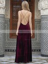 A-line V-neck Velvet Floor-length Split Front Prom Dresses #Favs020106115