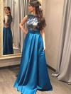 A-line Scoop Neck Satin Floor-length Lace Prom Dresses #Favs020102065