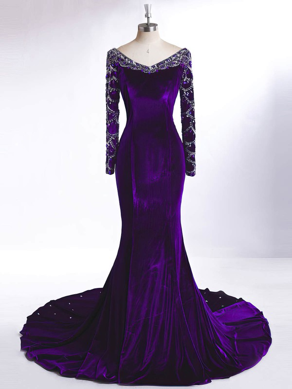 Trumpet/Mermaid V-neck Velvet Court Train Beading Prom Dresses #Favs020106126