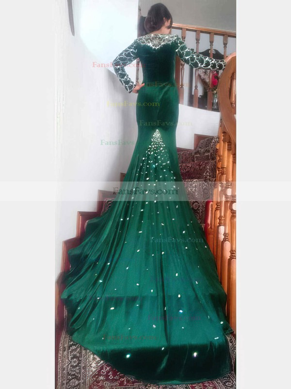 Trumpet/Mermaid V-neck Velvet with Beading Prom Dresses #Favs020106126