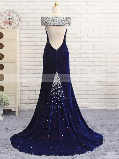 Trumpet/Mermaid Off-the-shoulder Velvet with Beading Prom Dresses #Favs020106128