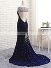 Trumpet/Mermaid Off-the-shoulder Velvet Sweep Train Beading Prom Dresses #Favs020106128