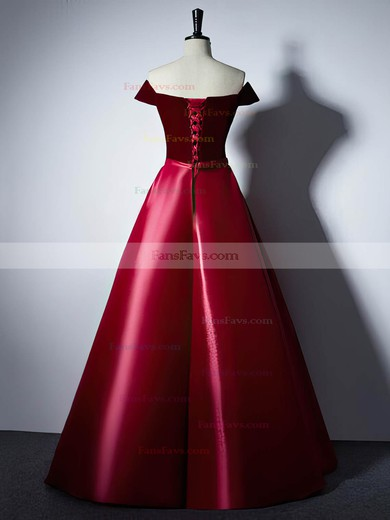 Ball Gown Off-the-shoulder Satin Velvet with Sashes / Ribbons Prom Dresses #Favs020106129