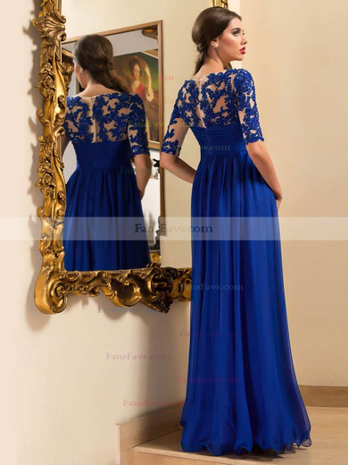 A-line Scoop Neck Chiffon Floor-length Appliques Lace Prom Dresses #Favs020102095