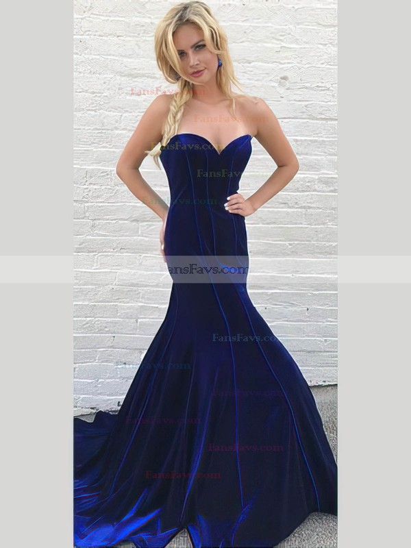 Trumpet/Mermaid High Neck Velvet Sweep Train Beading Prom Dresses #Favs020106134