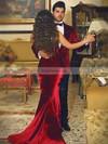 Trumpet/Mermaid Sweetheart Velvet Sweep Train Prom Dresses #Favs020106135