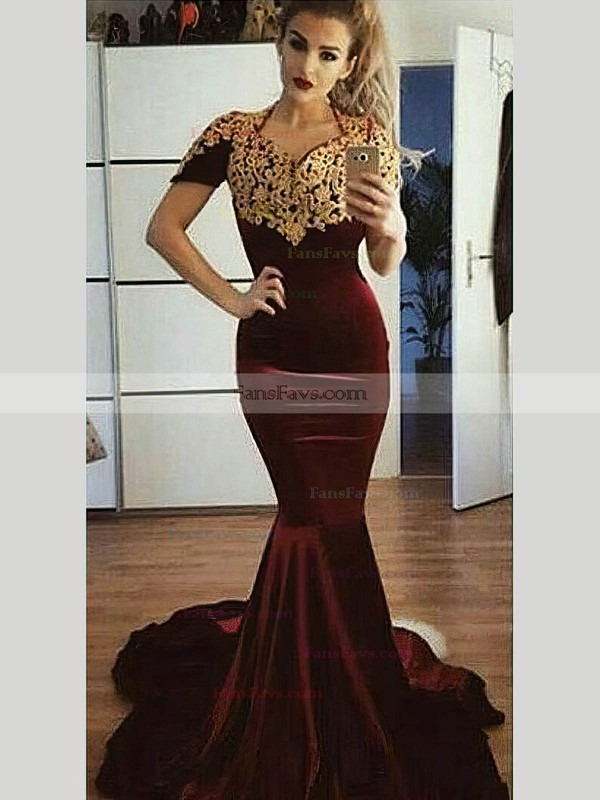 Trumpet/Mermaid V-neck Velvet Sweep Train Appliques Lace Prom Dresses #Favs020106137