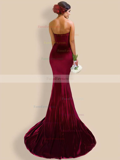 Trumpet/Mermaid V-neck Velvet Prom Dresses #Favs020106138