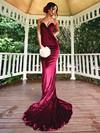 Trumpet/Mermaid V-neck Velvet Sweep Train Prom Dresses #Favs020106138