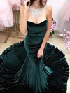 Trumpet/Mermaid Sweetheart Velvet Sweep Train Prom Dresses #Favs020106139