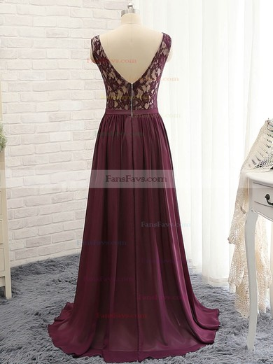 A-line V-neck Sweep Train Chiffon Lace Prom Dresses #Favs020102133