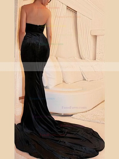 Trumpet/Mermaid V-neck Velvet Prom Dresses #Favs020106143