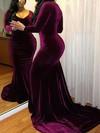 Trumpet/Mermaid V-neck Velvet Sweep Train Prom Dresses #Favs020106145