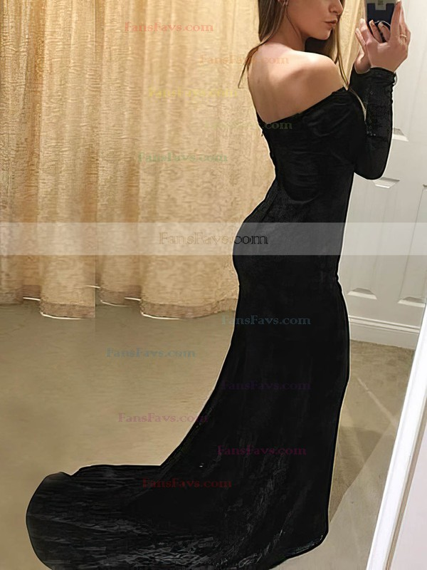 Trumpet/Mermaid Off-the-shoulder Velvet Sweep Train Prom Dresses #Favs020106147