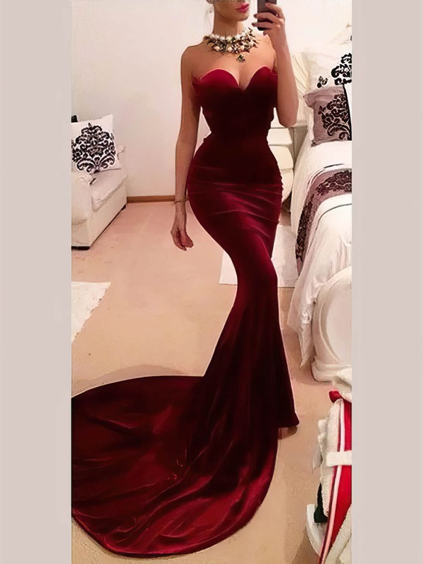 Trumpet/Mermaid Sweetheart Velvet Prom Dresses #Favs020106149