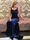 Sheath/Column Scoop Neck Velvet Sweep Train Beading Prom Dresses #Favs020106151
