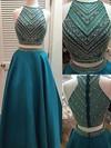 A-line Scoop Neck Satin Floor-length Crystal Detailing Prom Dresses #Favs020102151