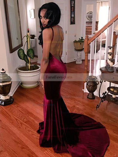 Trumpet/Mermaid V-neck Velvet Prom Dresses #Favs020106152