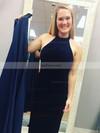 A-line Halter Satin Velvet Detachable Sashes / Ribbons Prom Dresses #Favs020106154