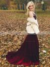 Trumpet/Mermaid V-neck Velvet Sweep Train Beading Prom Dresses #Favs020106156