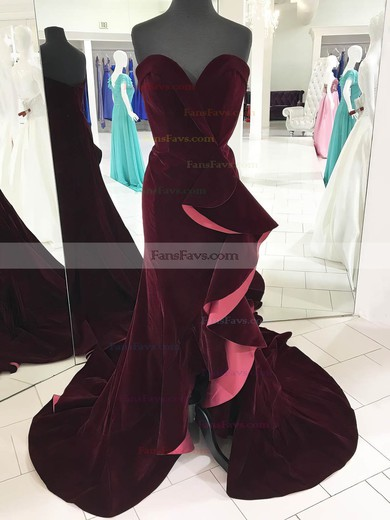 Trumpet/Mermaid V-neck Velvet Sweep Train Cascading Ruffles Prom Dresses #Favs020106157