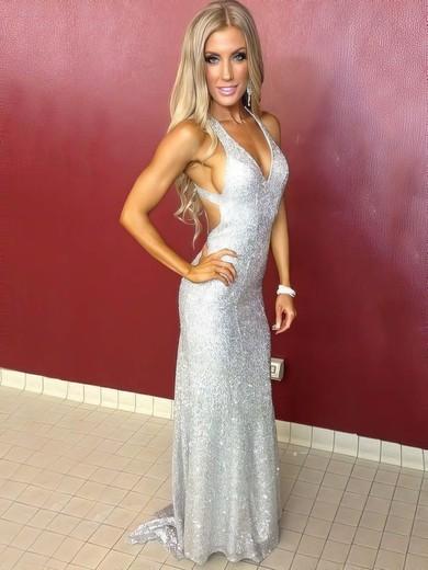 Sheath/Column V-neck Sequined Sweep Train Prom Dresses #Favs020106158