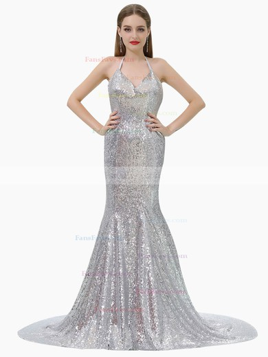 Trumpet/Mermaid Halter Sequined Prom Dresses #Favs020106160