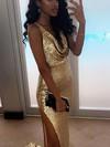 Sheath/Column Cowl Neck Sequined Sweep Train Split Front Prom Dresses #Favs020106161