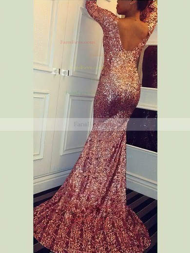 Trumpet/Mermaid V-neck Sequined Prom Dresses #Favs020106162