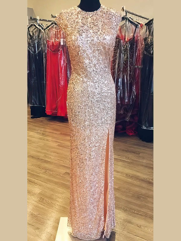 Sheath/Column Scoop Neck Sequined with Split Front Prom Dresses #Favs020106163