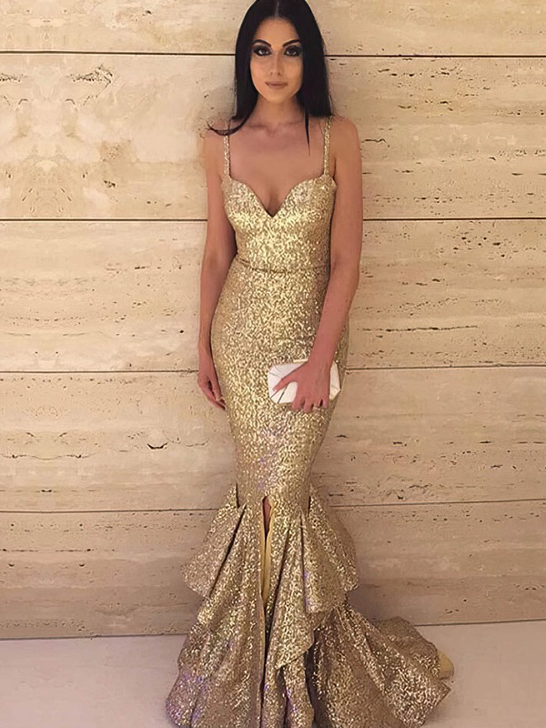Trumpet/Mermaid V-neck Sequined with Split Front Prom Dresses #Favs020106165