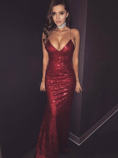 Sheath/Column V-neck Sequined Floor-length Prom Dresses #Favs020106166