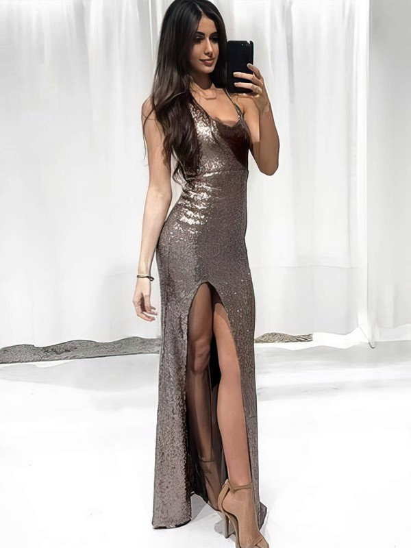 Sheath/Column V-neck Sequined with Split Front Prom Dresses #Favs020106167