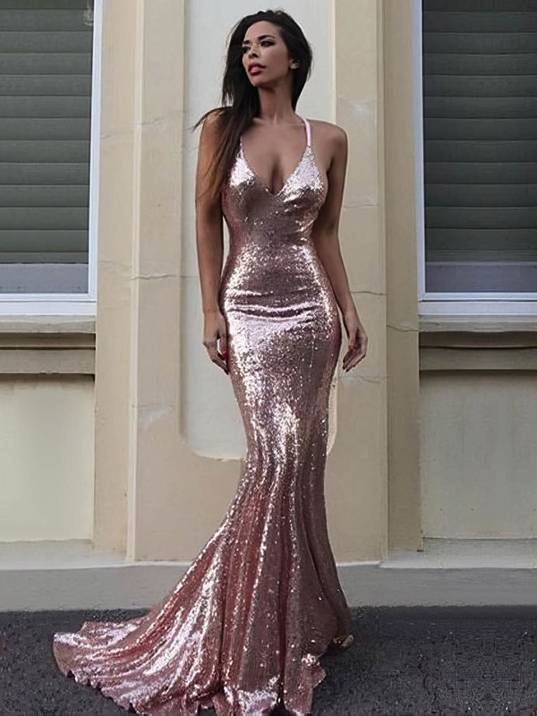Trumpet/Mermaid V-neck Sequined Prom Dresses #Favs020106169