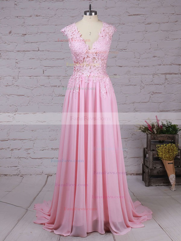 A-line V-neck Chiffon Sweep Train Appliques Lace Prom Dresses #Favs020102171