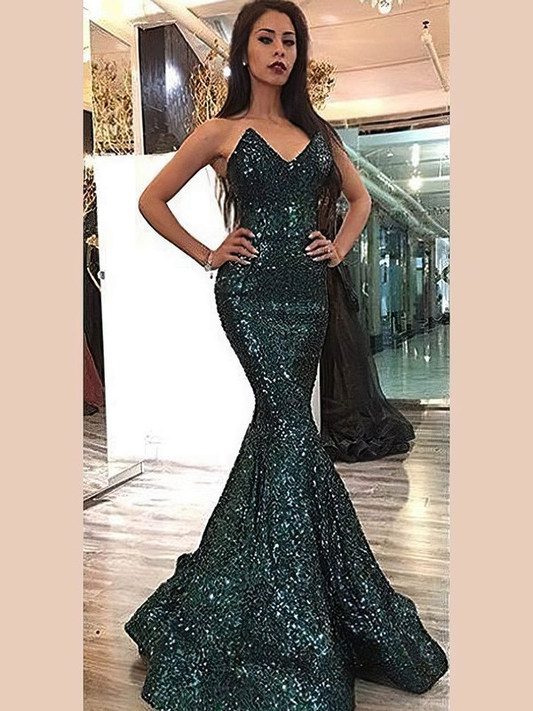 Trumpet/Mermaid V-neck Sequined Prom Dresses #Favs020106175